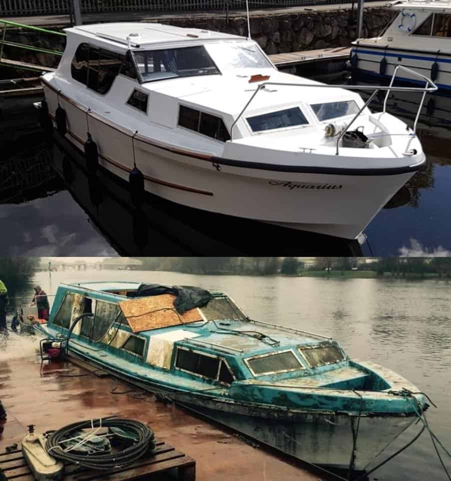 Before and after photographs of an adapted cruiser renovation.