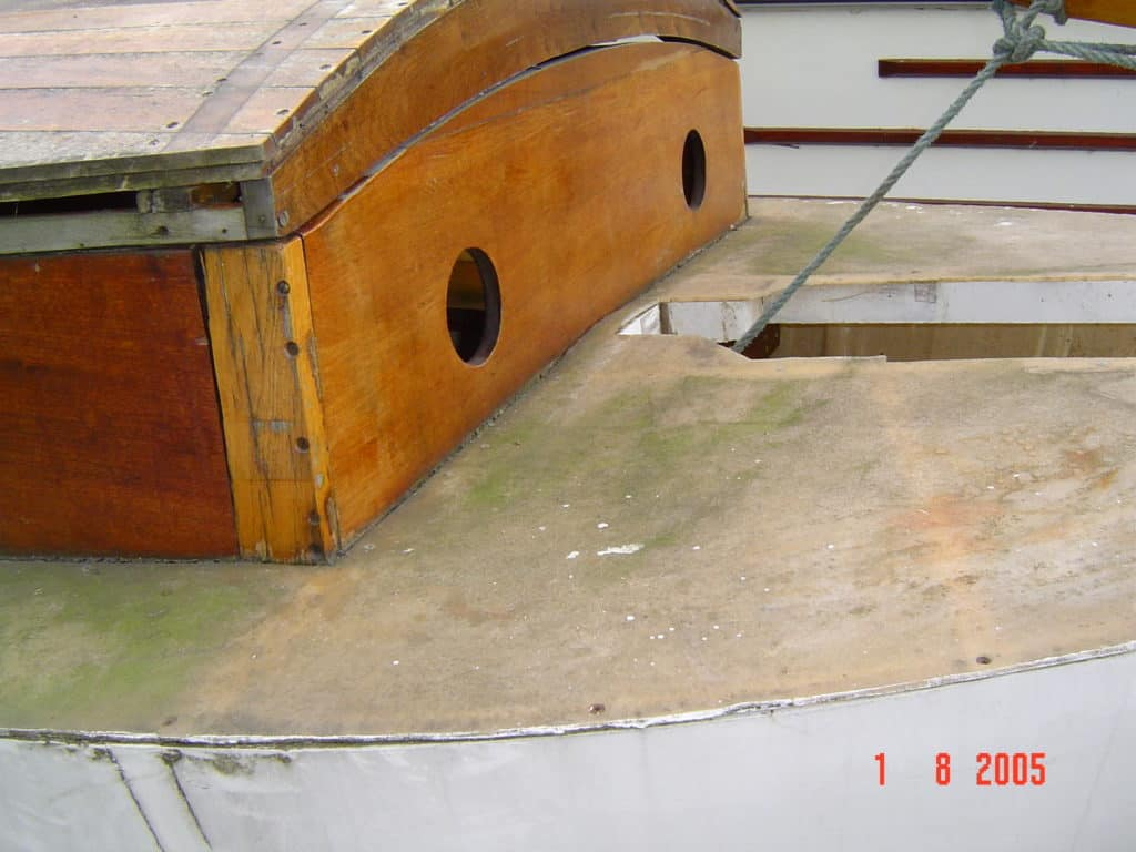 Deck Of A Wooden Broads Cruiser