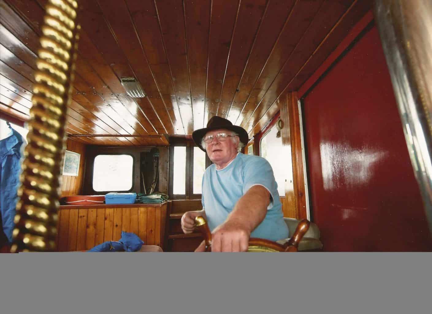 Mick Sitting In A Inside a 1945 Refuller RAF Boat